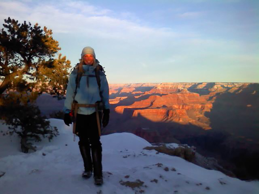Sunrise at the Grand Canyon on New Years Day. Hiked under the light of a full blue moon to from the bottom to arrive at the rim at the dawn of a new year!