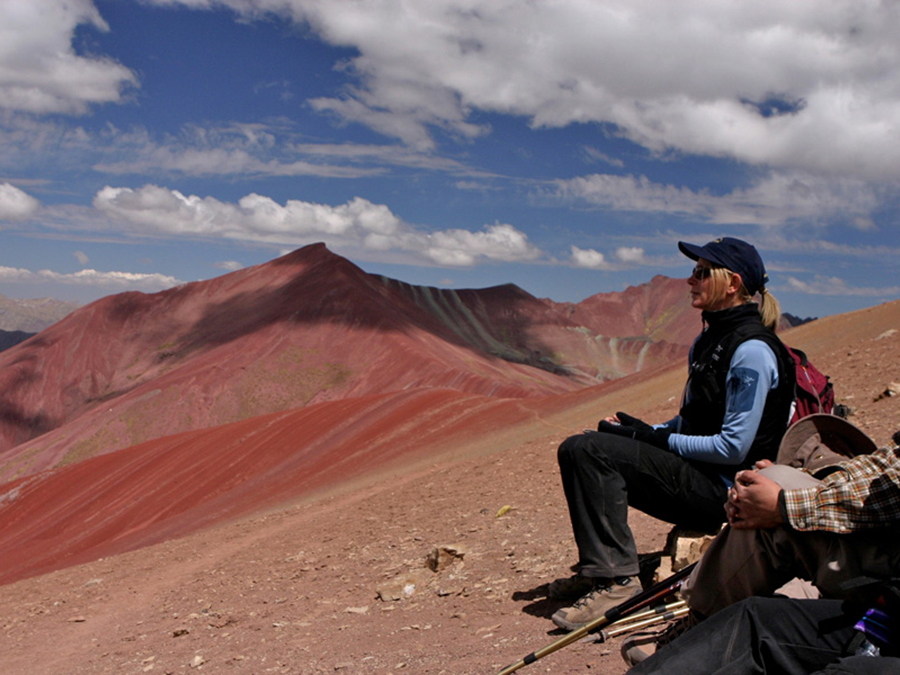 Taking time to soak in the magnificent landscape on Ausungate sacred mountain in Peru